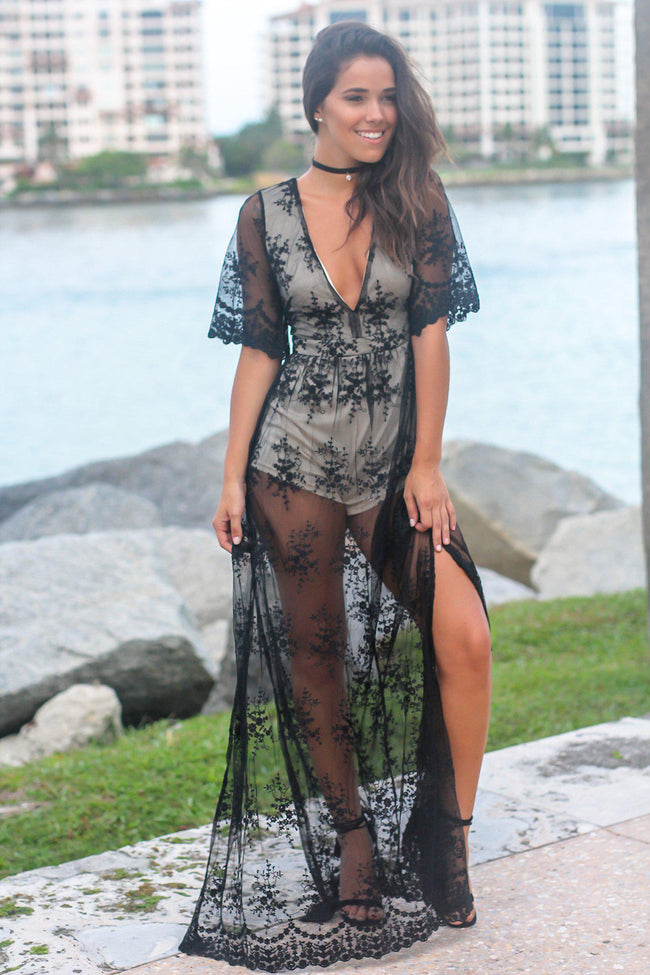 Black and Nude Lace Maxi Romper