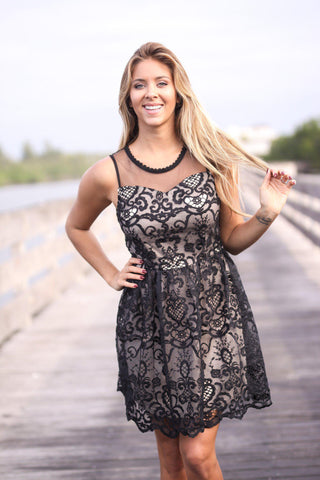 Black and Nude Lace Short Dress