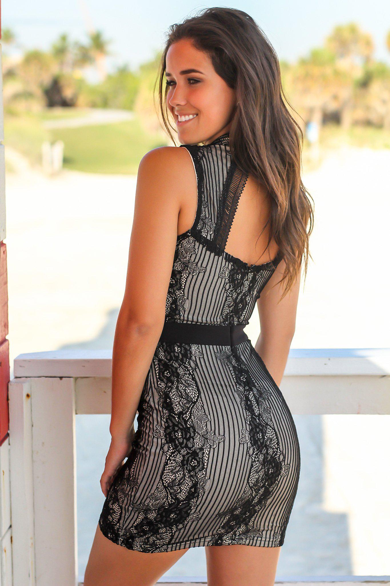 Black and Nude Lace Short Dress with Open Back