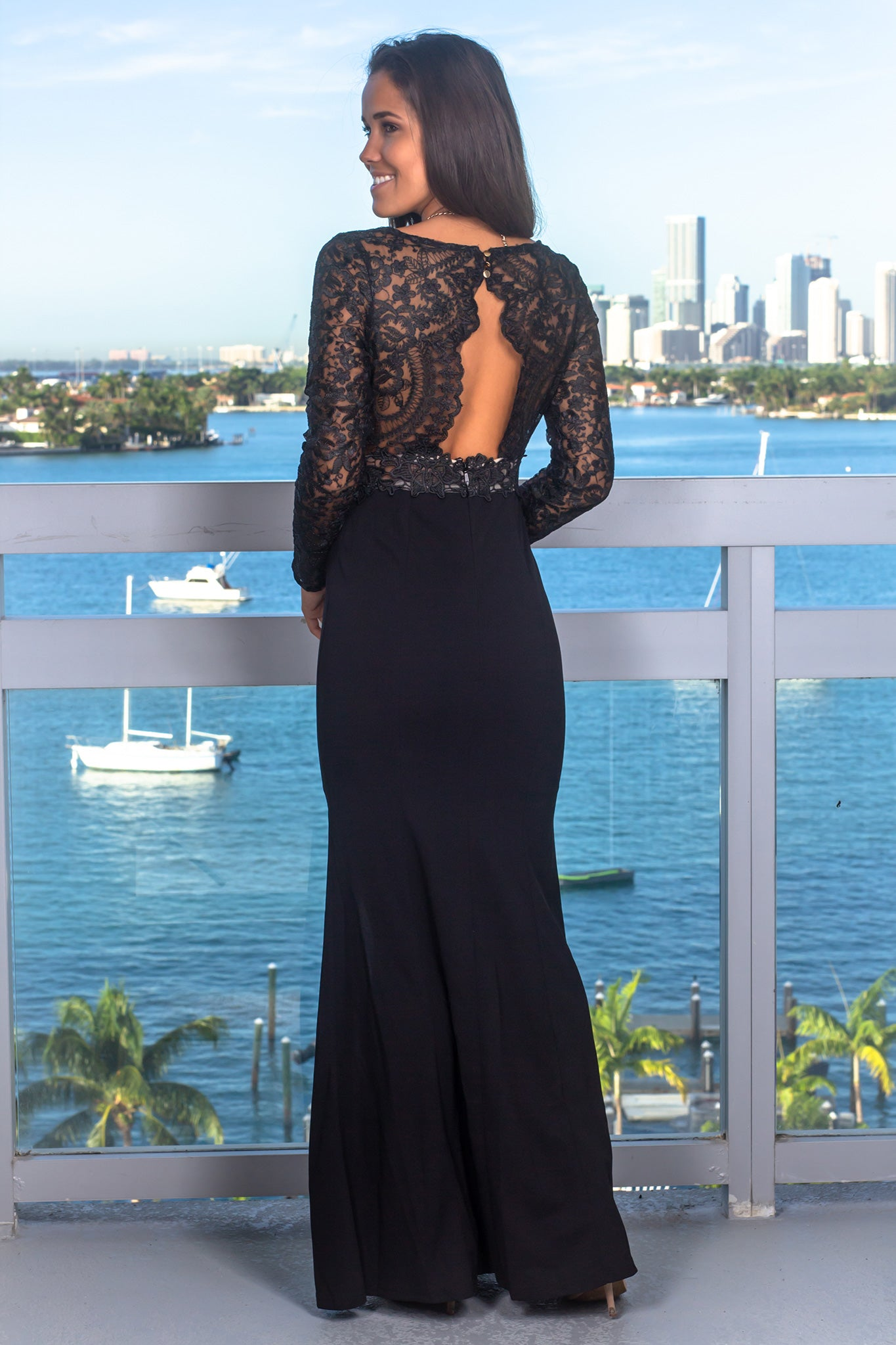 Black and Nude Long Sleeve Maxi Dress
