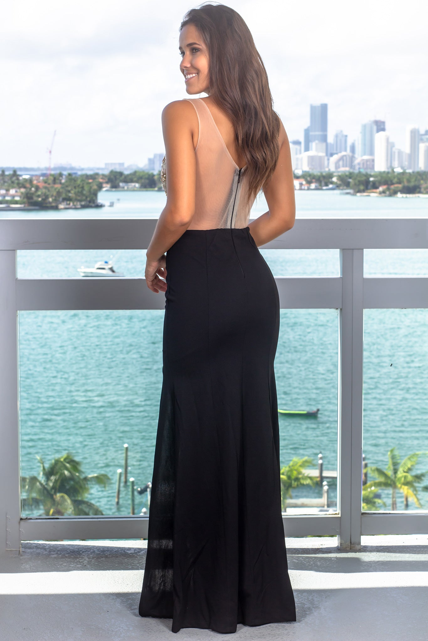 Black and Nude Maxi Dress with Jewel Detail