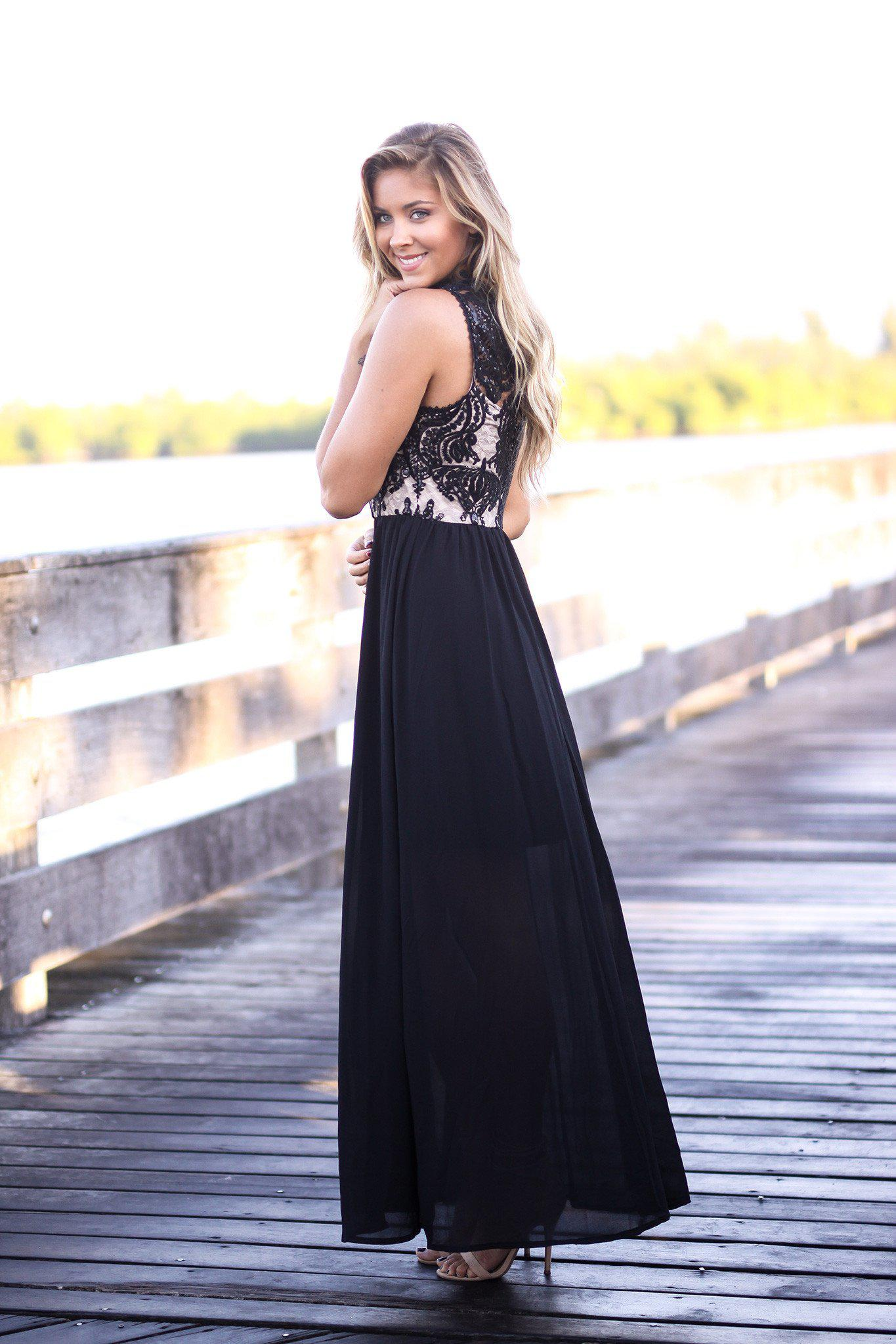 Black and Nude Maxi Dress with Sequined Top