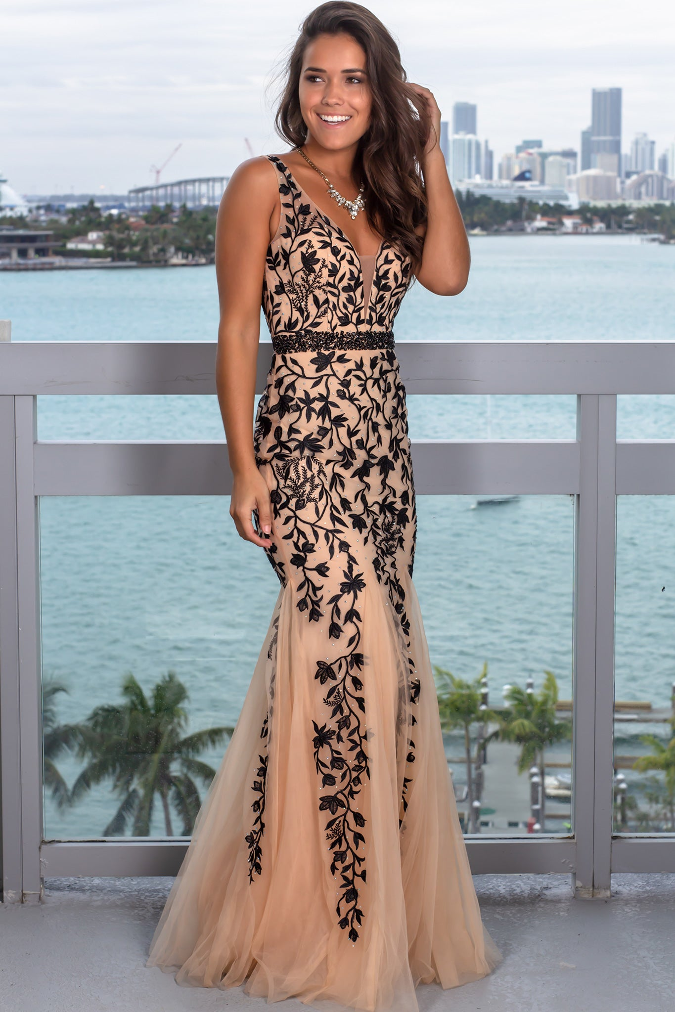 Black and Nude Maxi Dress with Tulle Detail