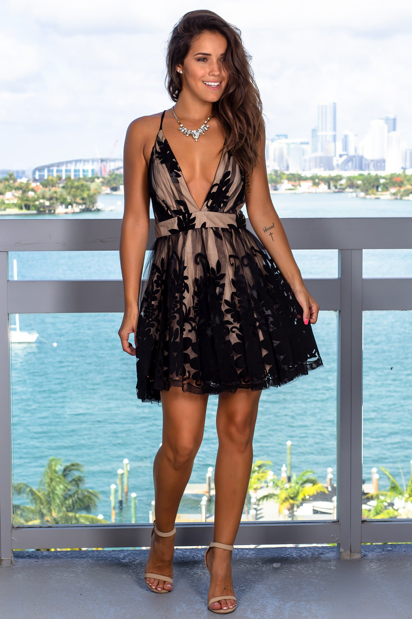 Black and Nude Printed Short Dress with Criss Cross Back