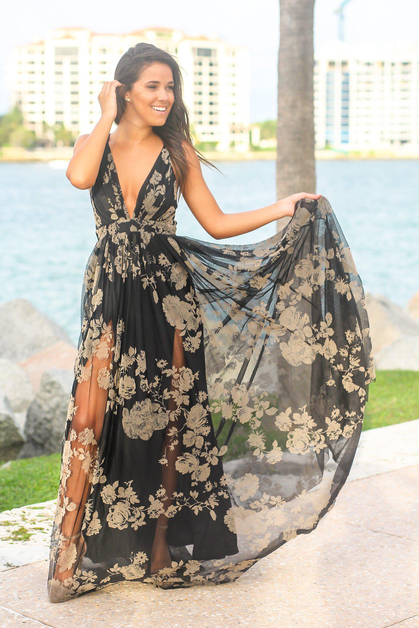 Black and Nude Printed Tulle Maxi Dress with Criss Cross Back