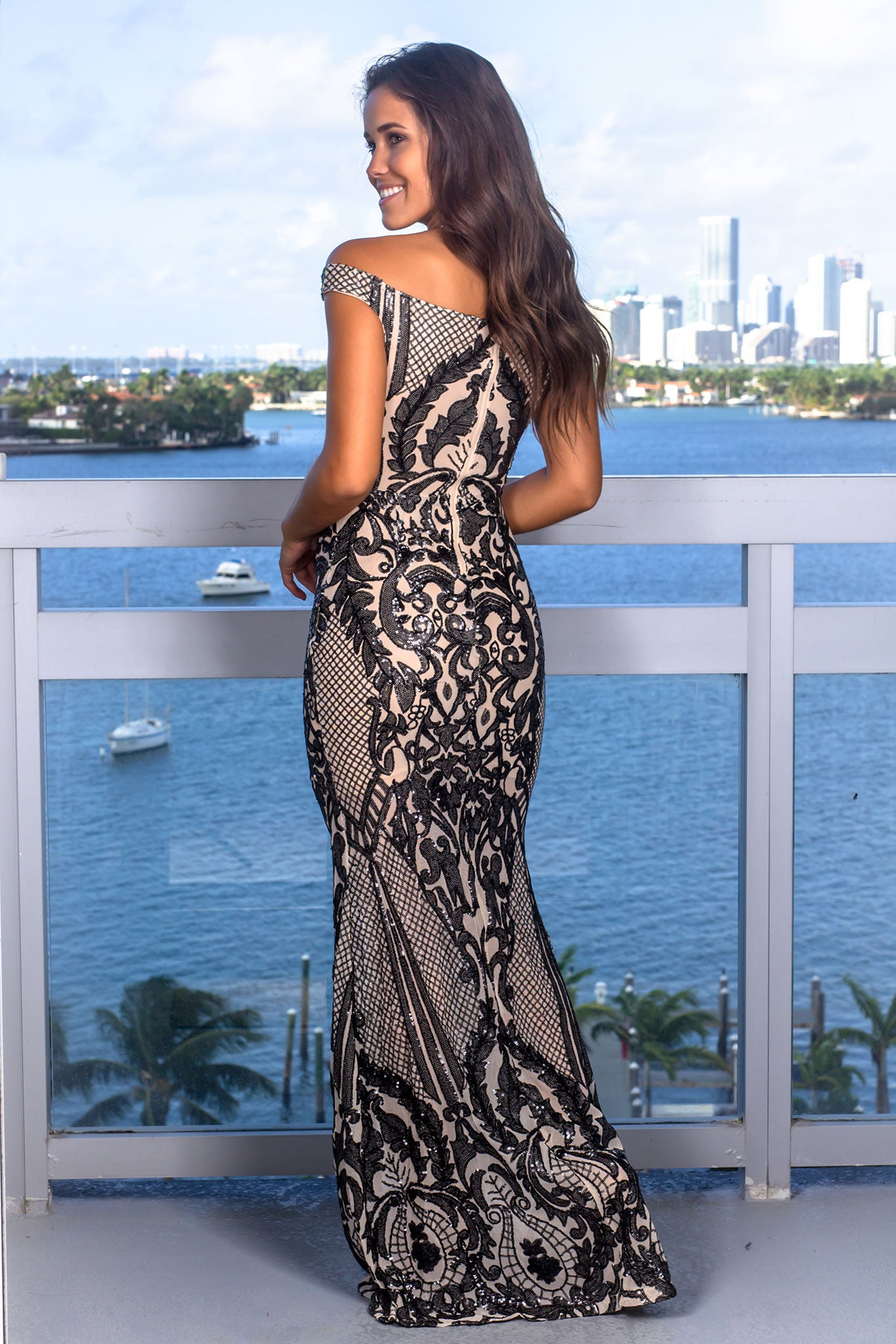 Black and Nude Sequin Maxi Dress