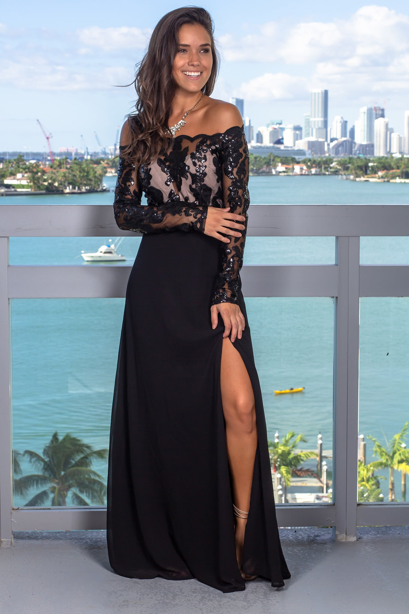 Black and Nude Sequin Top Maxi Dress with Long Sleeves