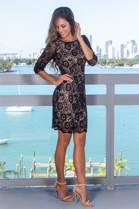 Black and Nude Short Dress with 3/4 Sleeves