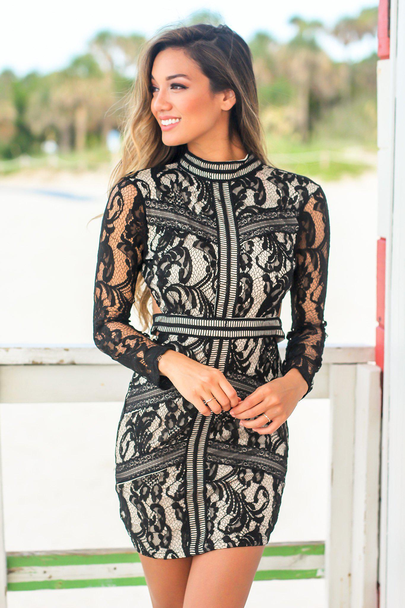 Black and Nude Short Dress with Long Sleeves