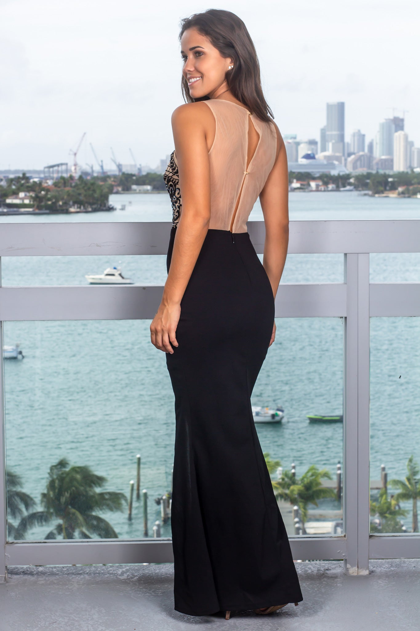 Black and Nude Top Maxi Dress with Side Slit