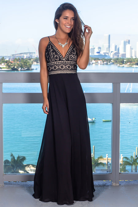 Black and Nude V-Neck Embroidered Top Maxi Dress