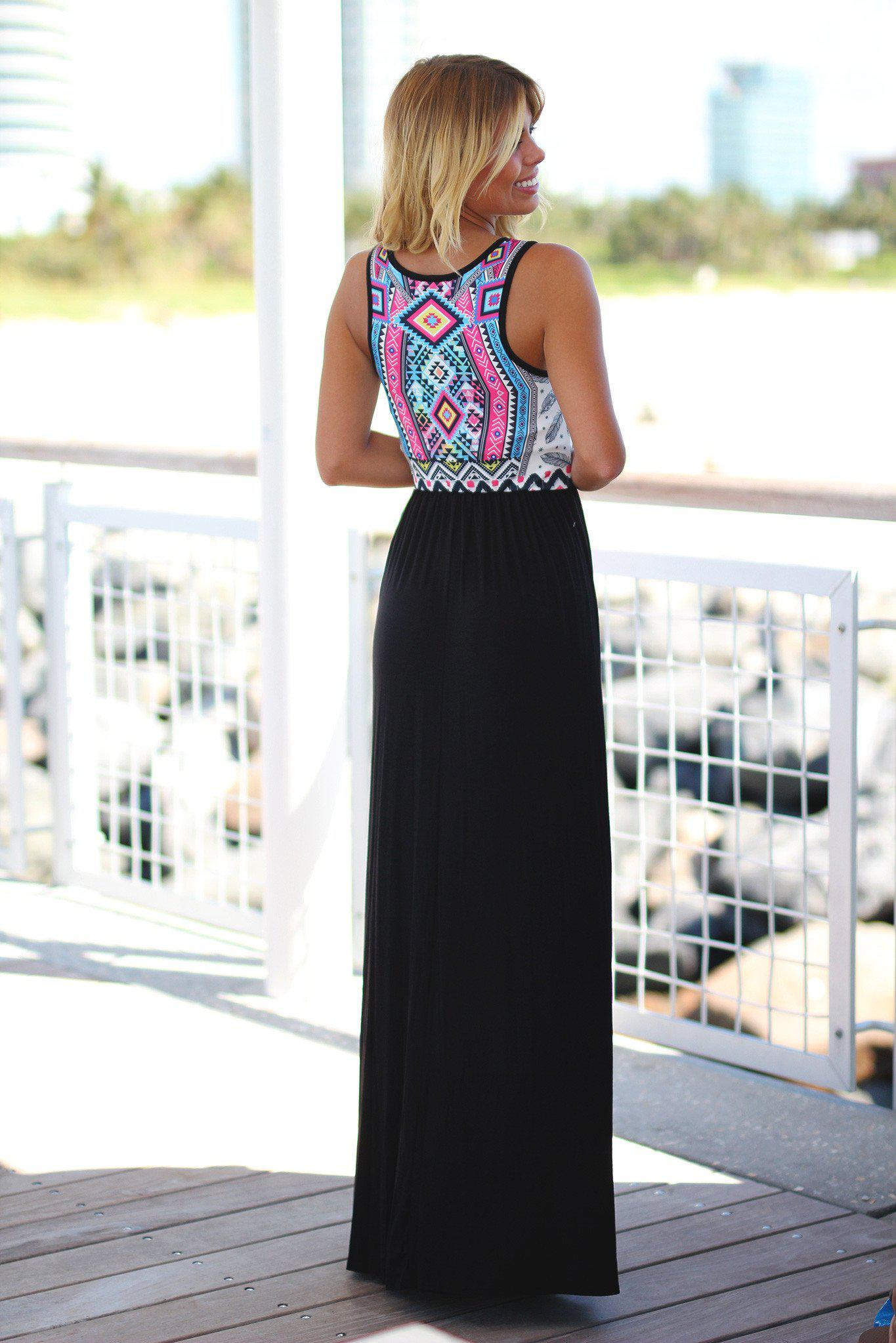 Black and Pink Aztec Maxi Dress