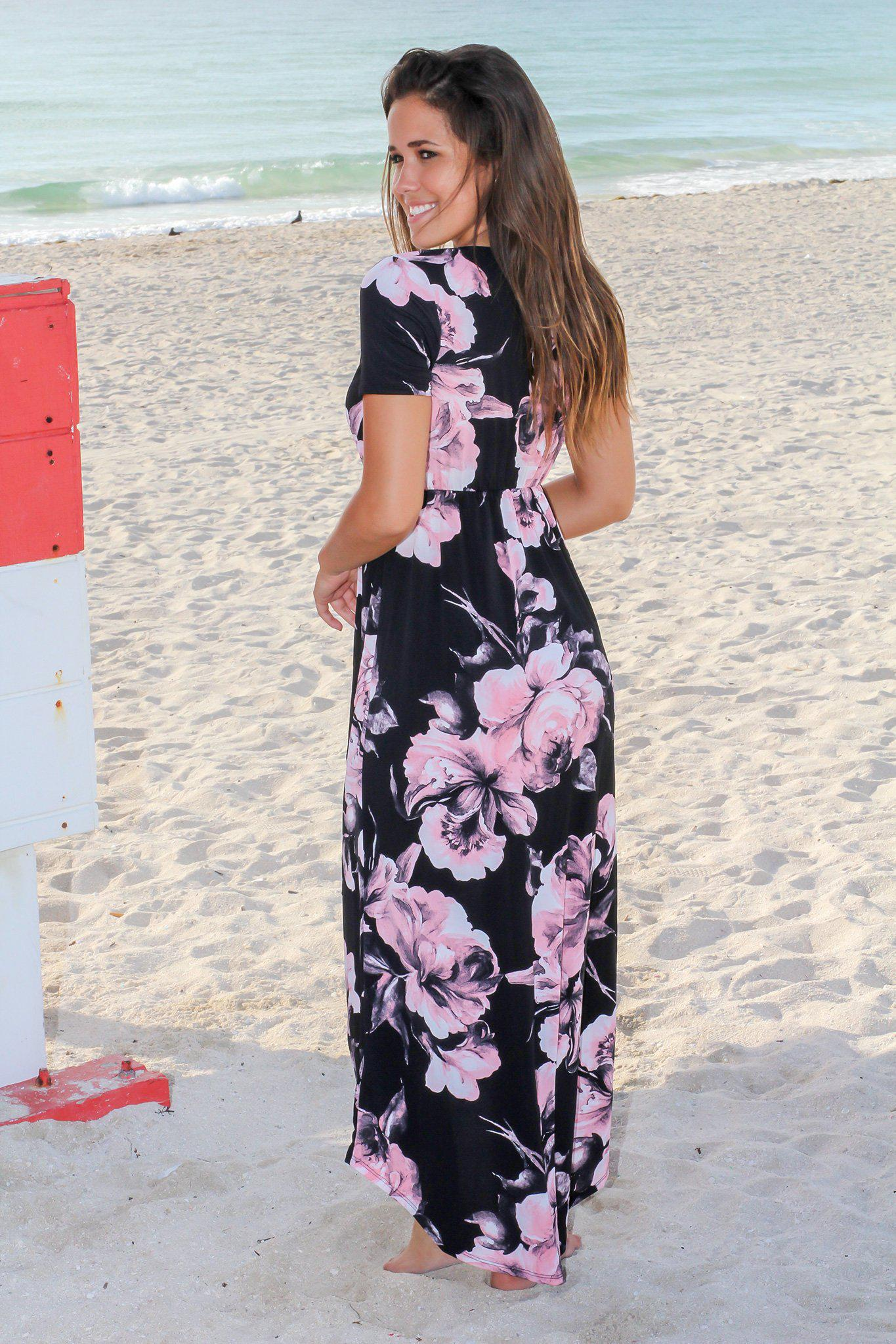 Black and Pink Floral High Low Wrap Dress