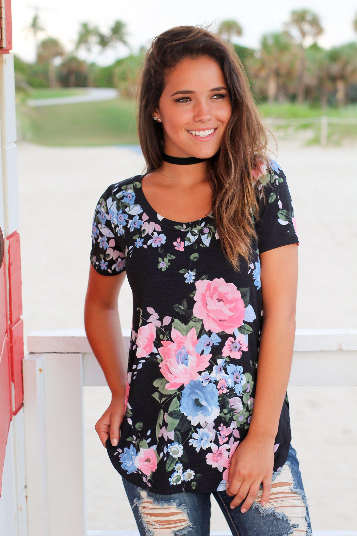Black and Pink Floral Top with Short Sleeves