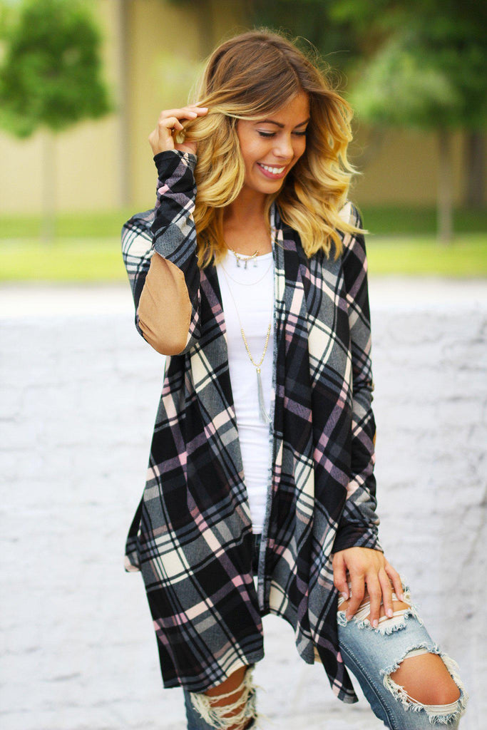 Black and Pink Plaid Cardigan With Elbow Patches