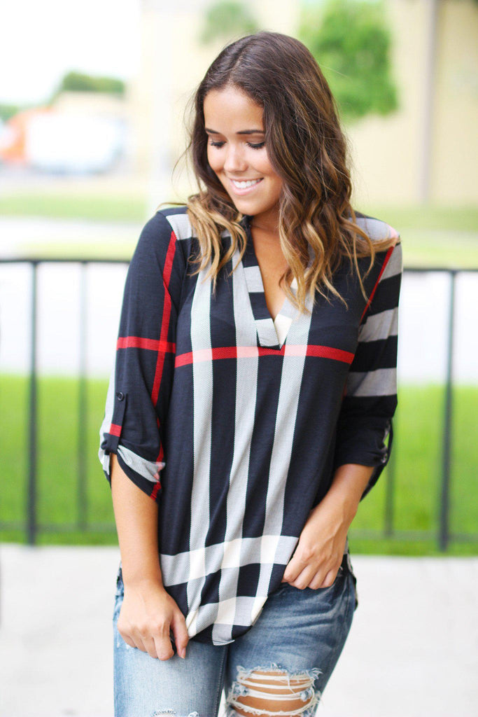 black check print top