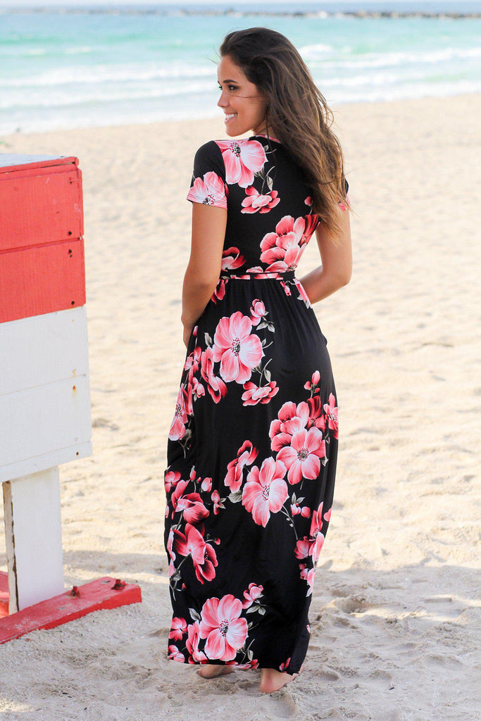 Black and Red Floral Maxi Dress