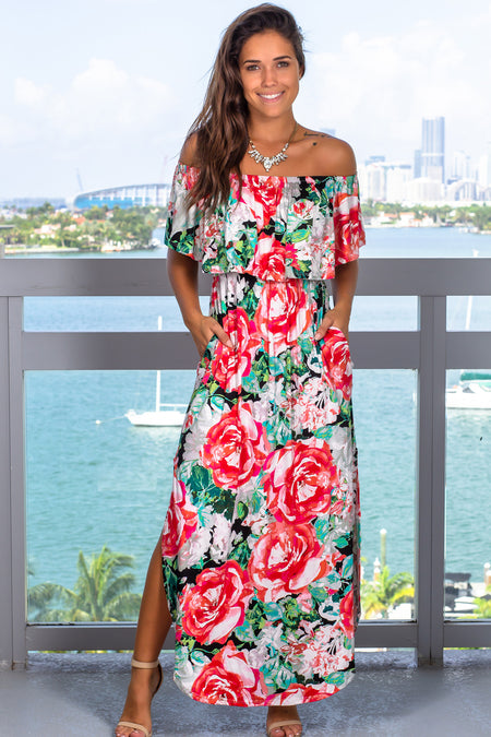 Black and Red Off Shoulder Maxi Dress