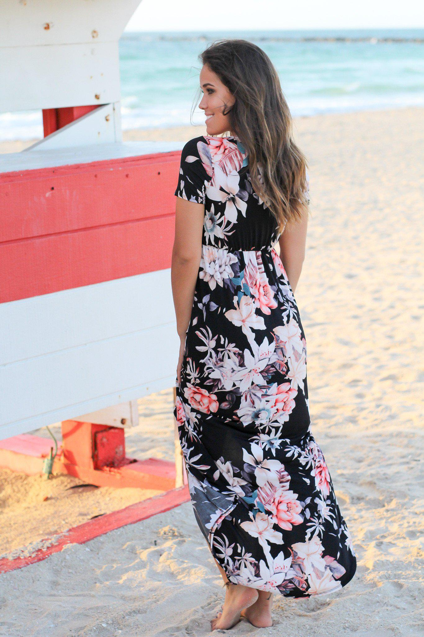 Black and Rose Floral High Low Dress