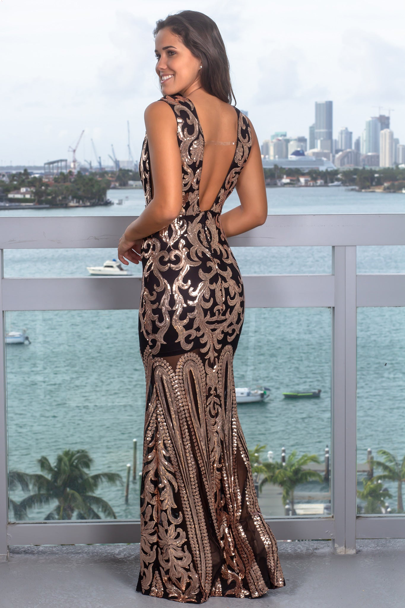 exclusive deals really cheap undefeated x Black and Rose Gold V-Neck Sequin Maxi Dress   Maxi Dresses ...