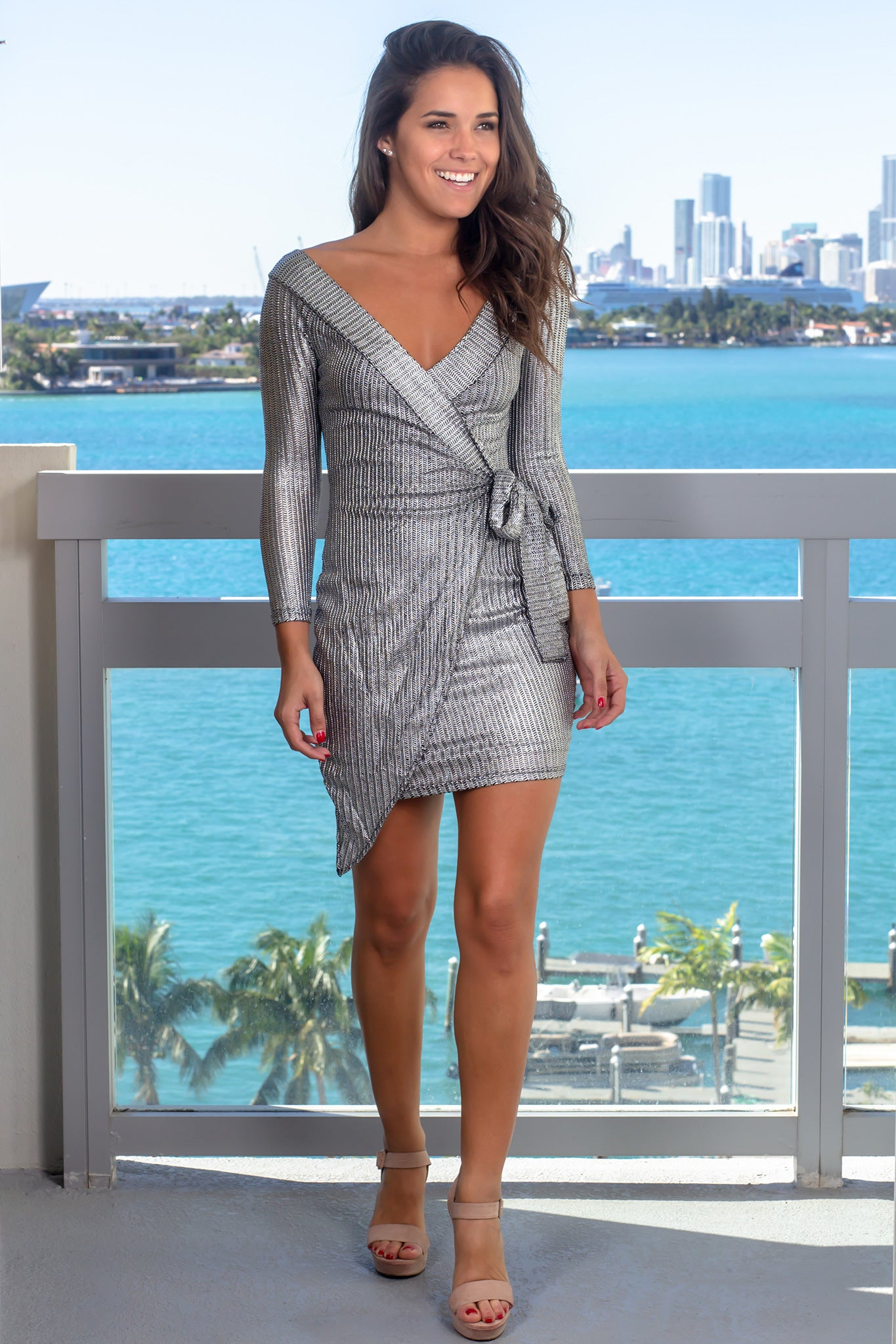 Black and Silver Long Sleeve Short Dress