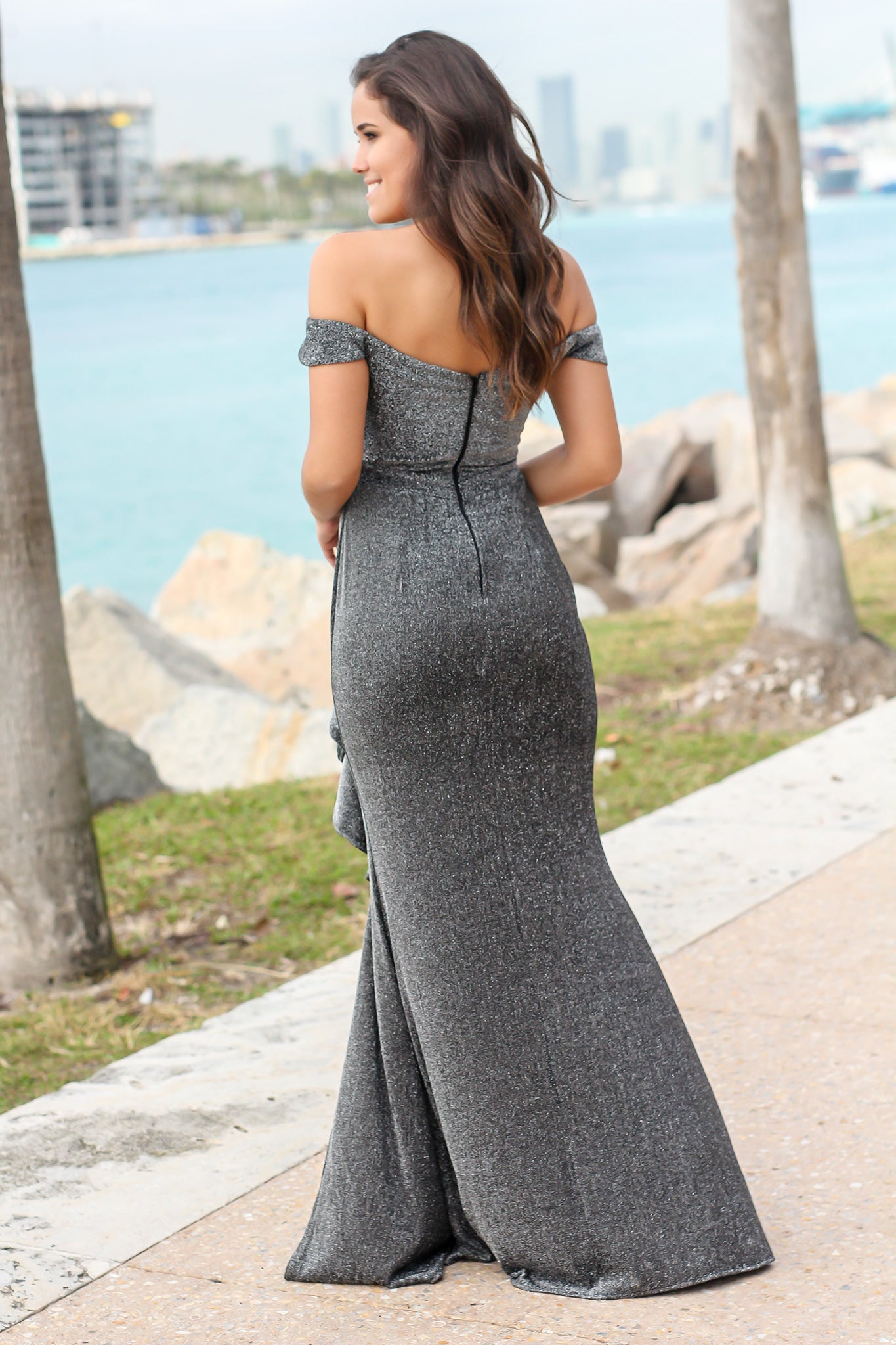 Black and Silver Off Shoulder Maxi Dress