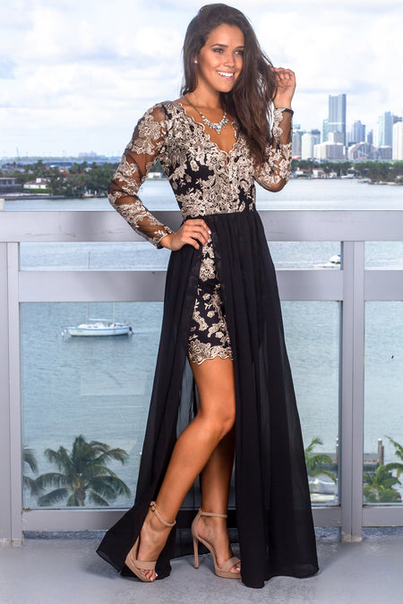 Black and Taupe Embroidered Maxi Dress