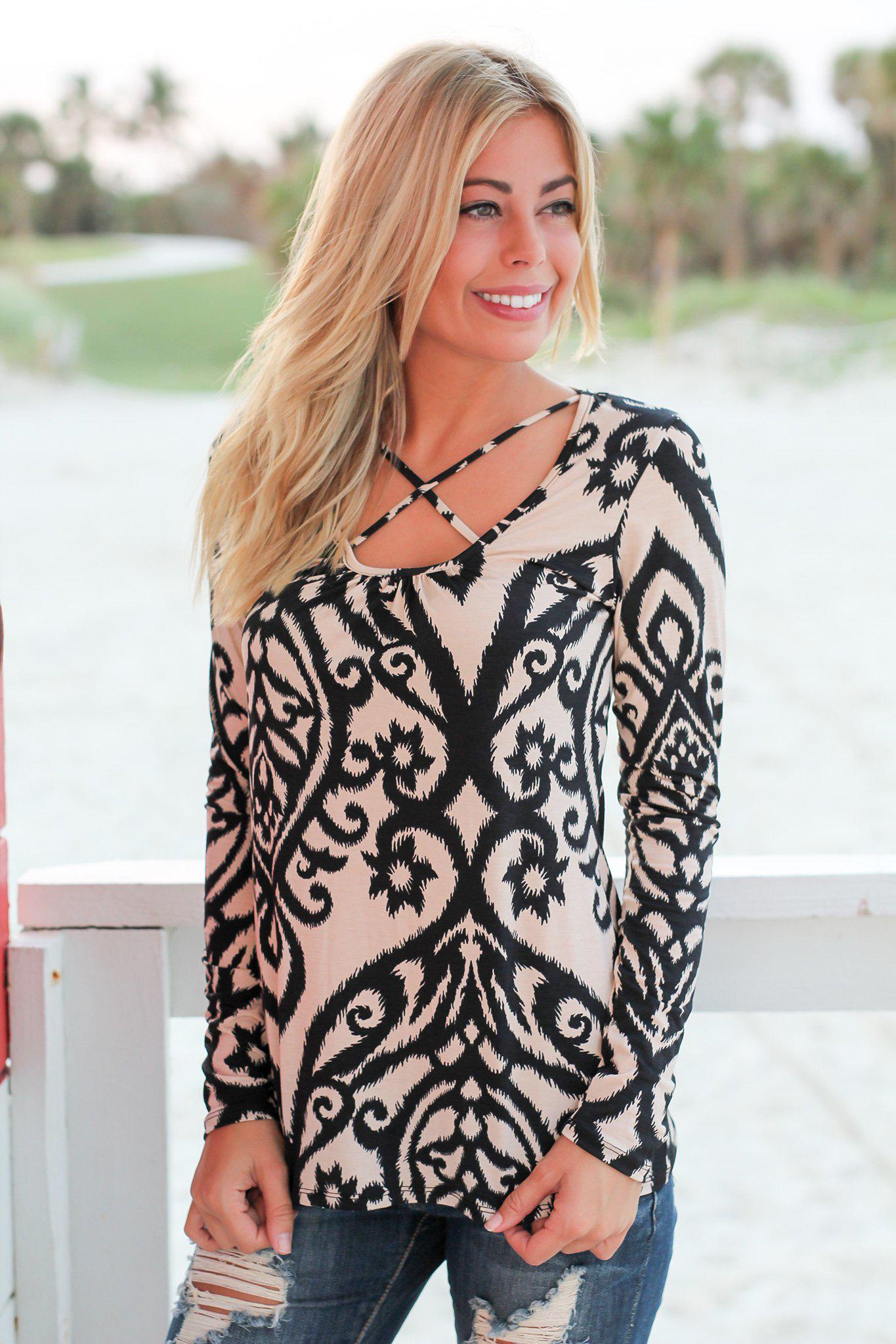 Black and Taupe Printed Long Sleeve Criss Cross Top