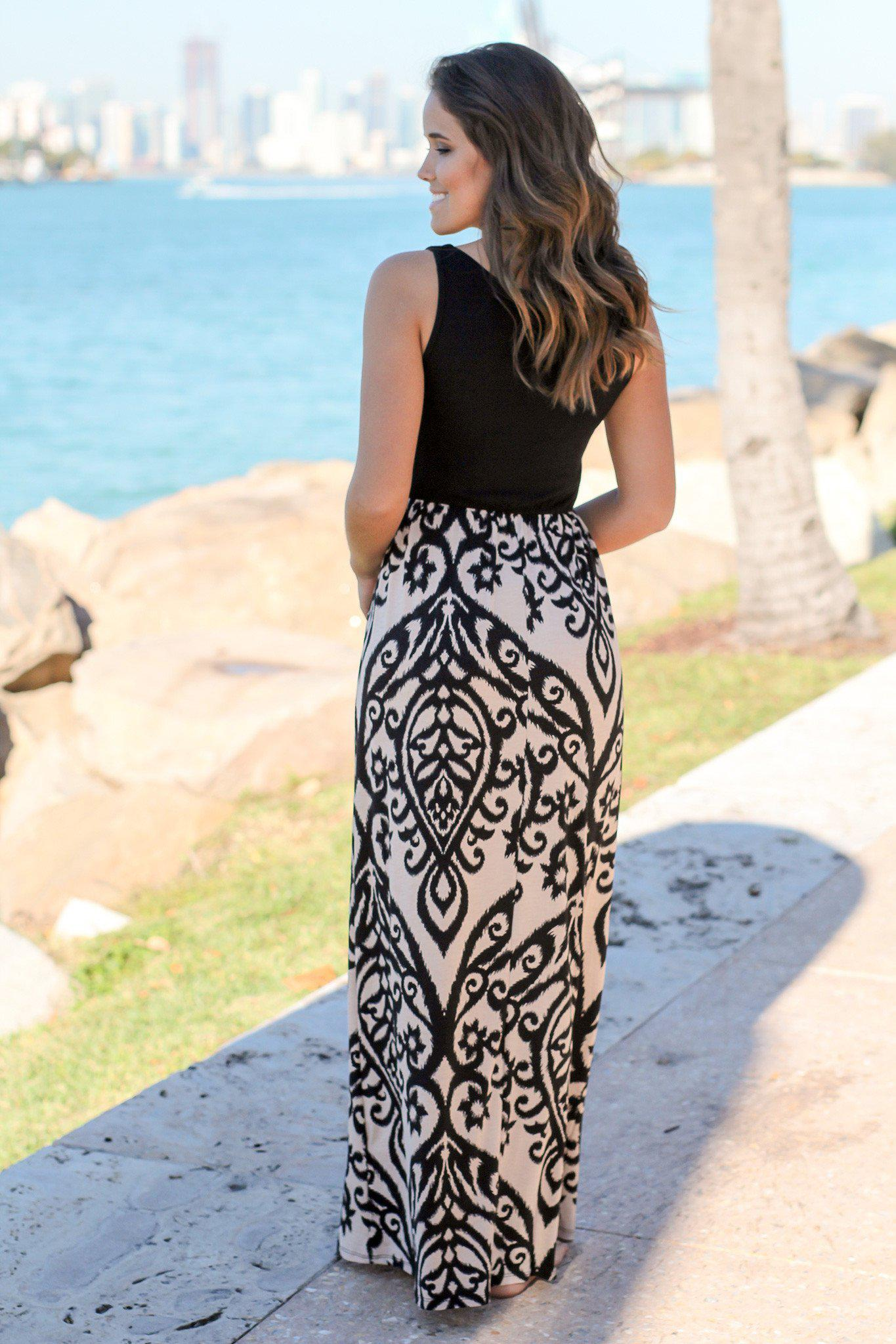 Black and Taupe Printed Maxi Dress