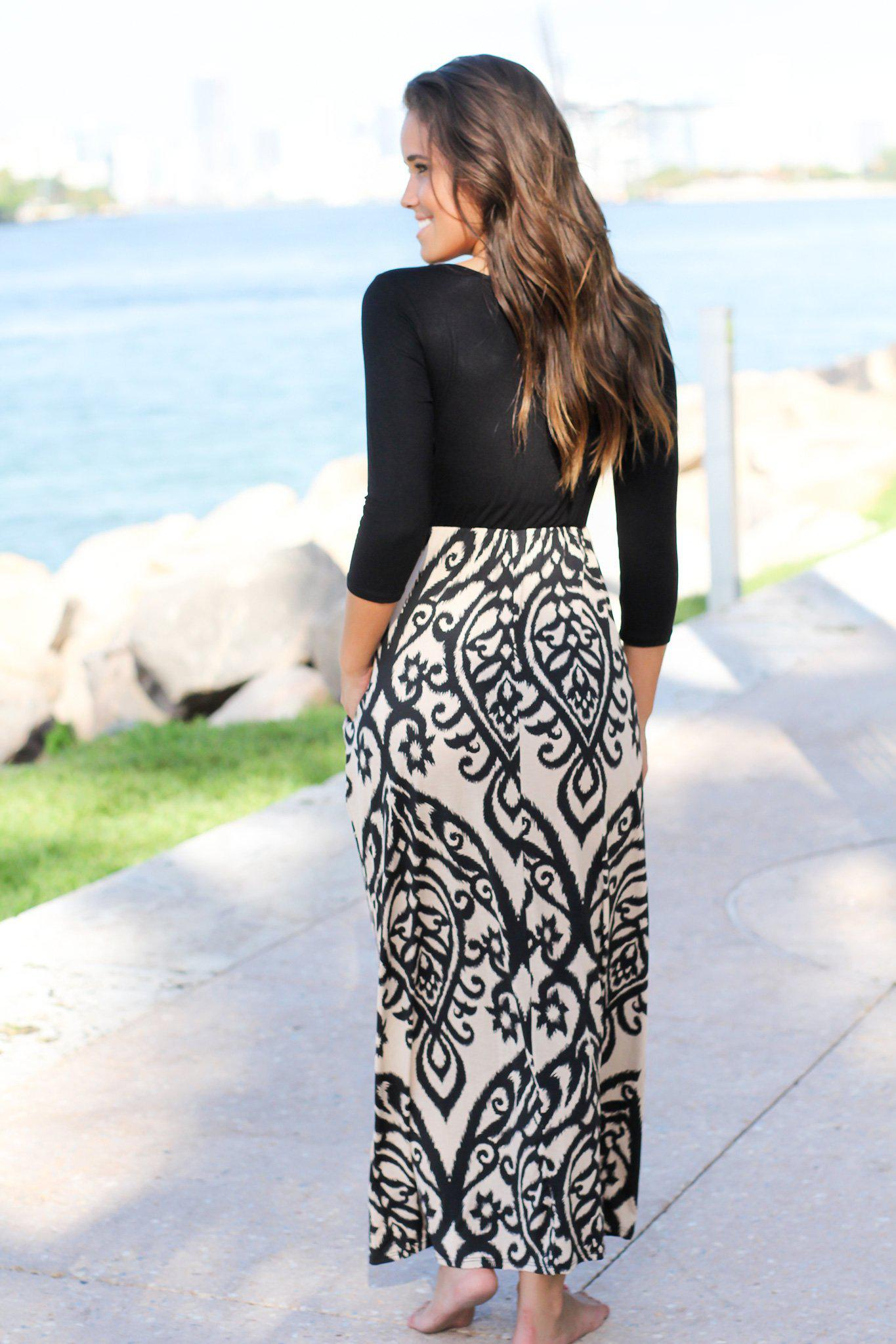 Black and Taupe Printed Maxi Dress With 3/4 Sleeves and Pockets