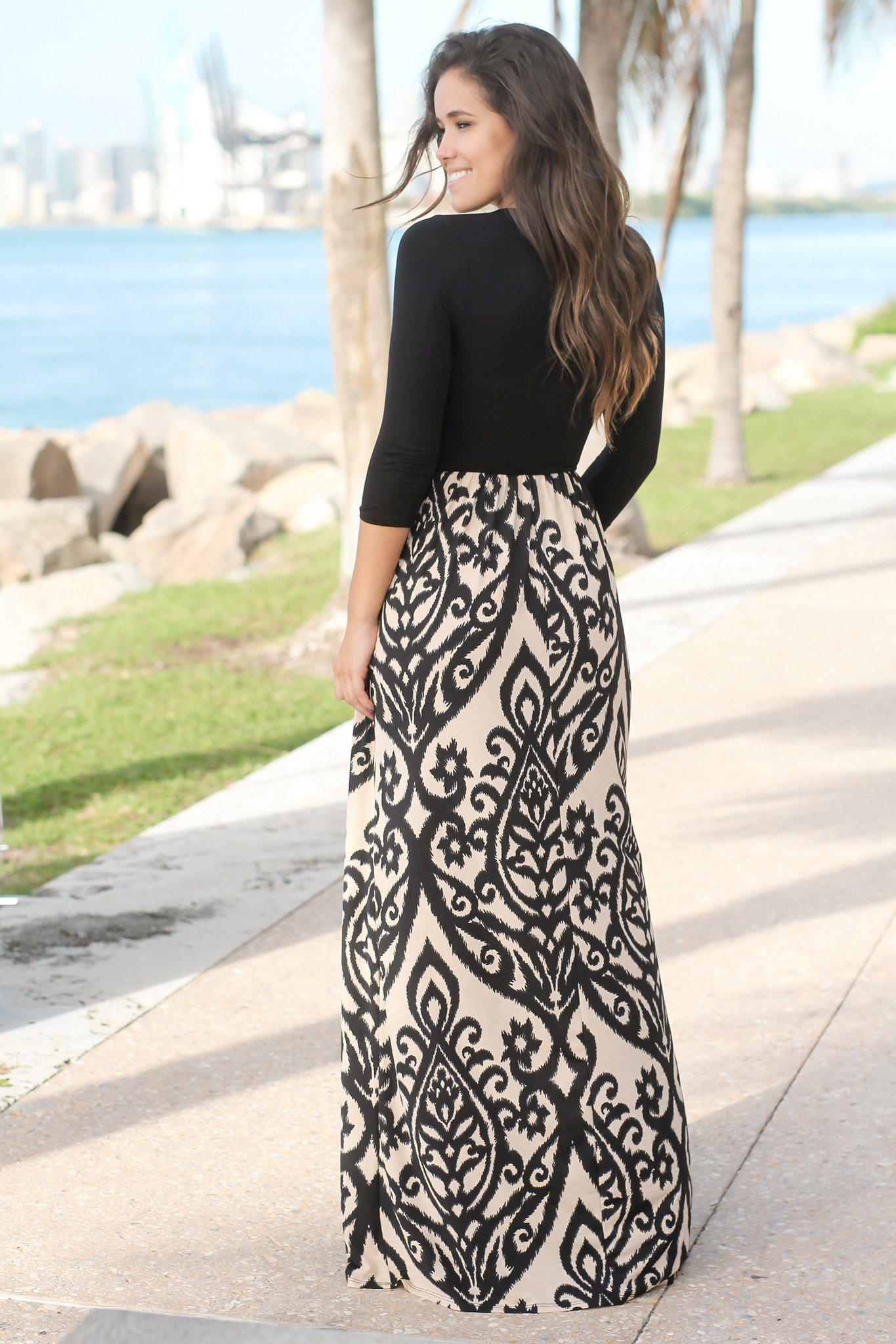 Black and Taupe Printed Maxi Dress with Criss Cross Top