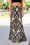 Black and Taupe Printed Maxi Skirt