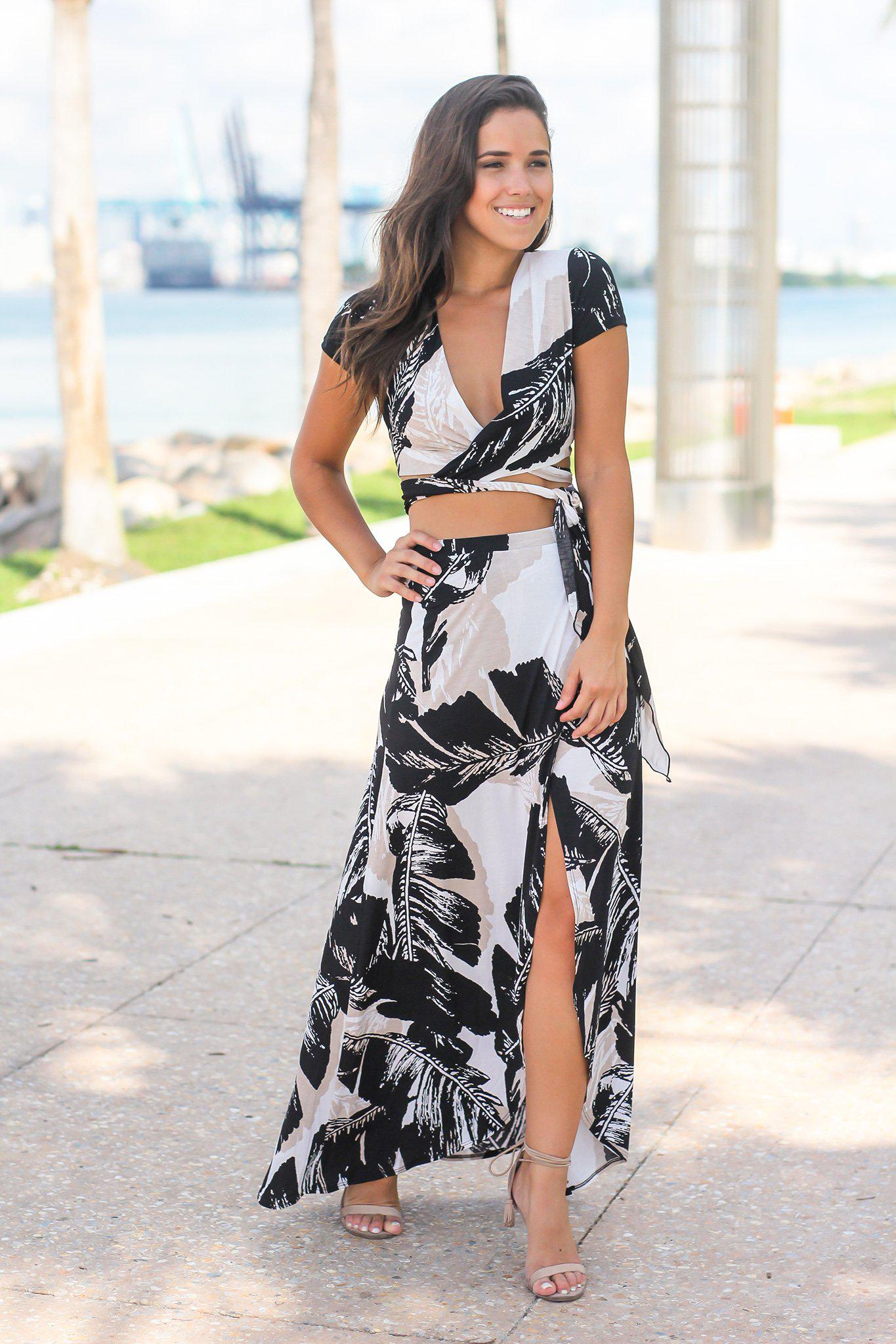 Black and Taupe Printed Two Piece Set