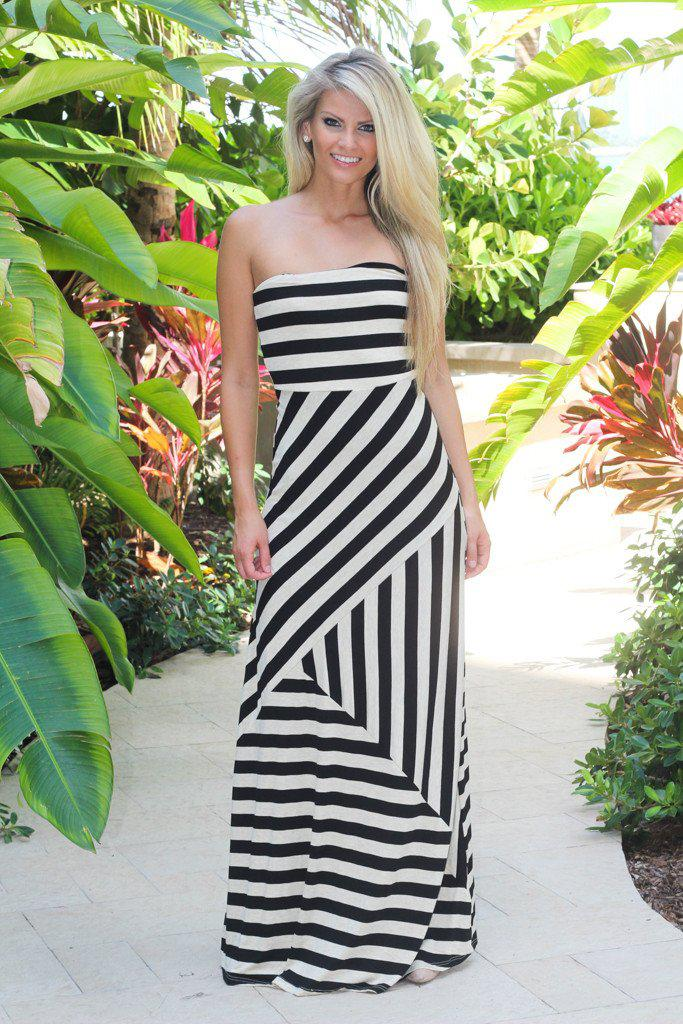 Black and Taupe Strapless Maxi Dress