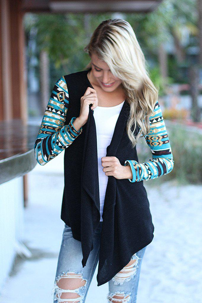 Black and Teal Aztec Cardigan