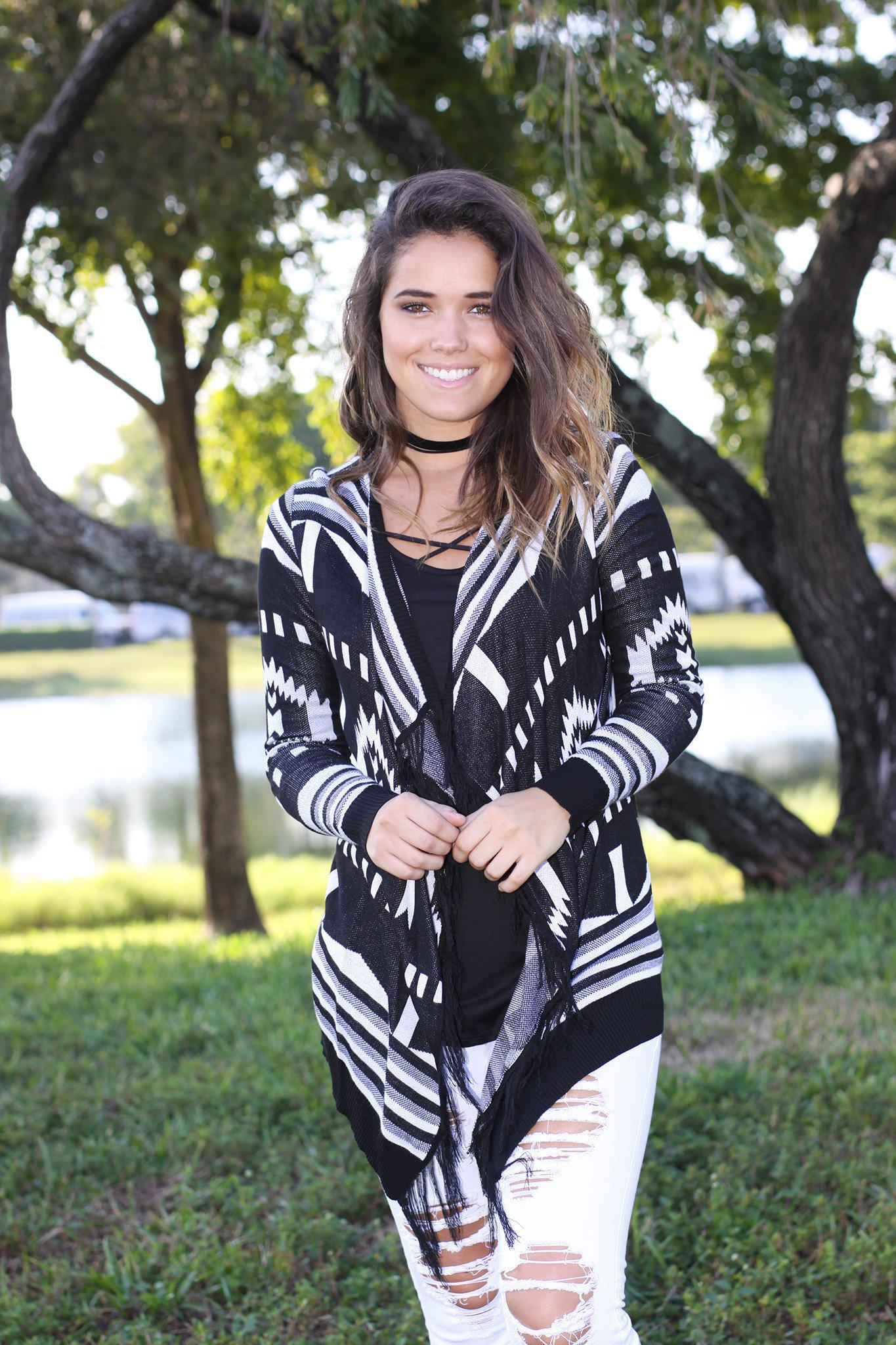 black and white cardigan