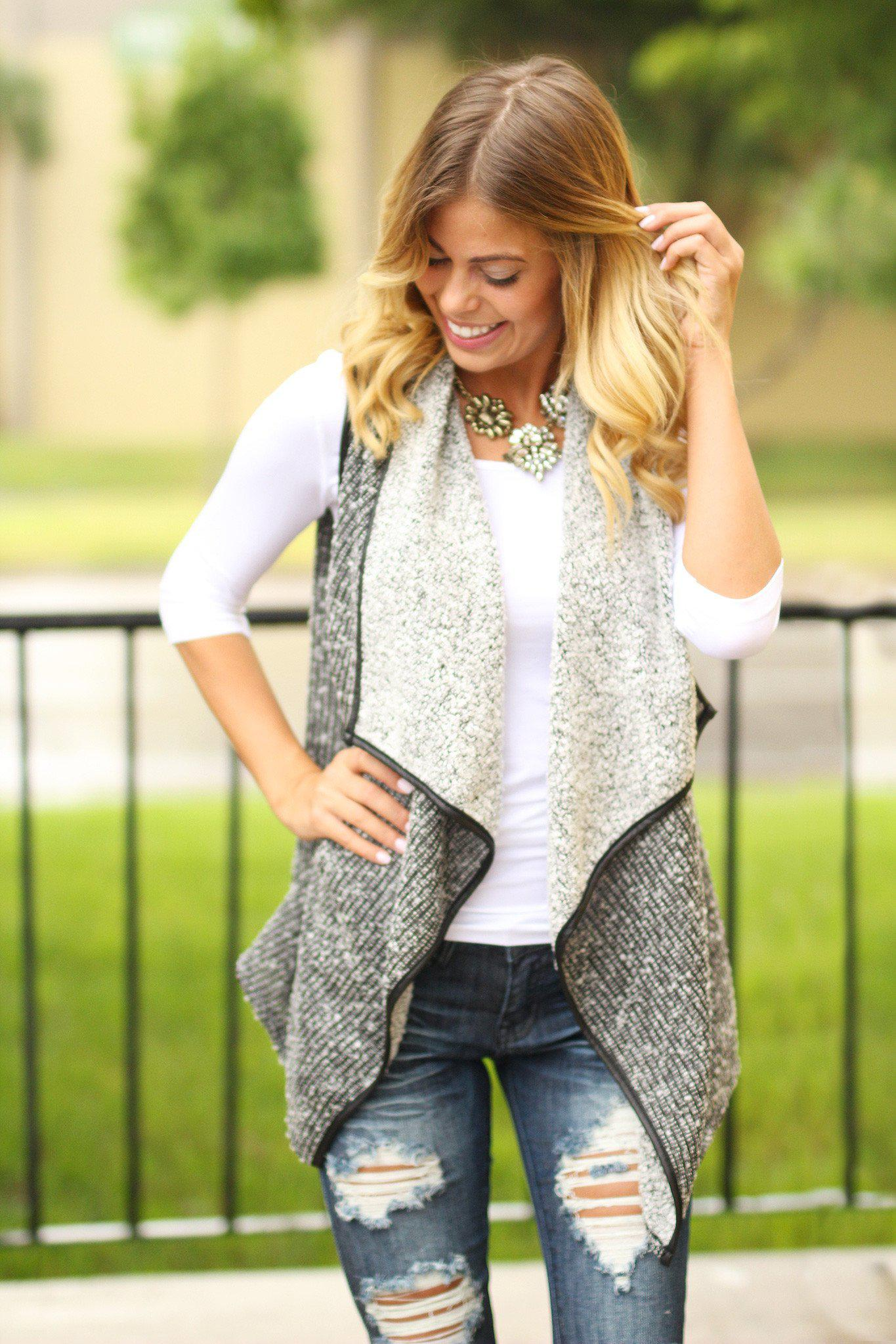black and white asymmetrical vest