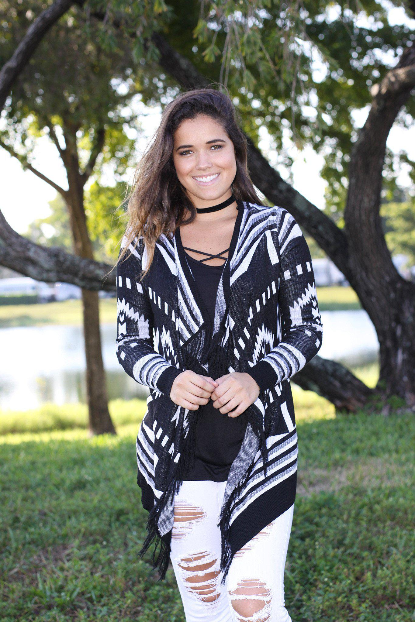 black and white open cardigan