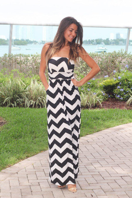 Black and White Chevron Jersey Maxi Dress