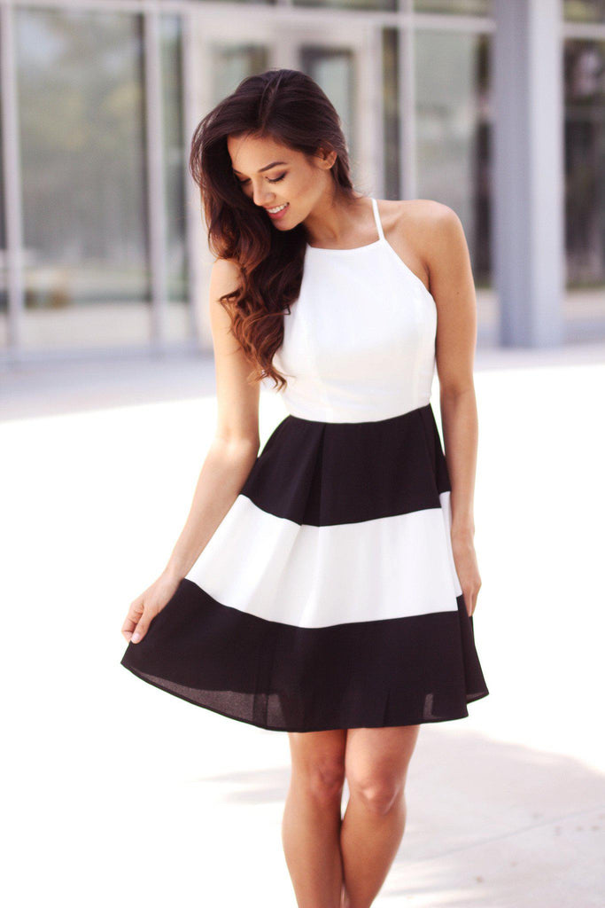 black and white color block short dress