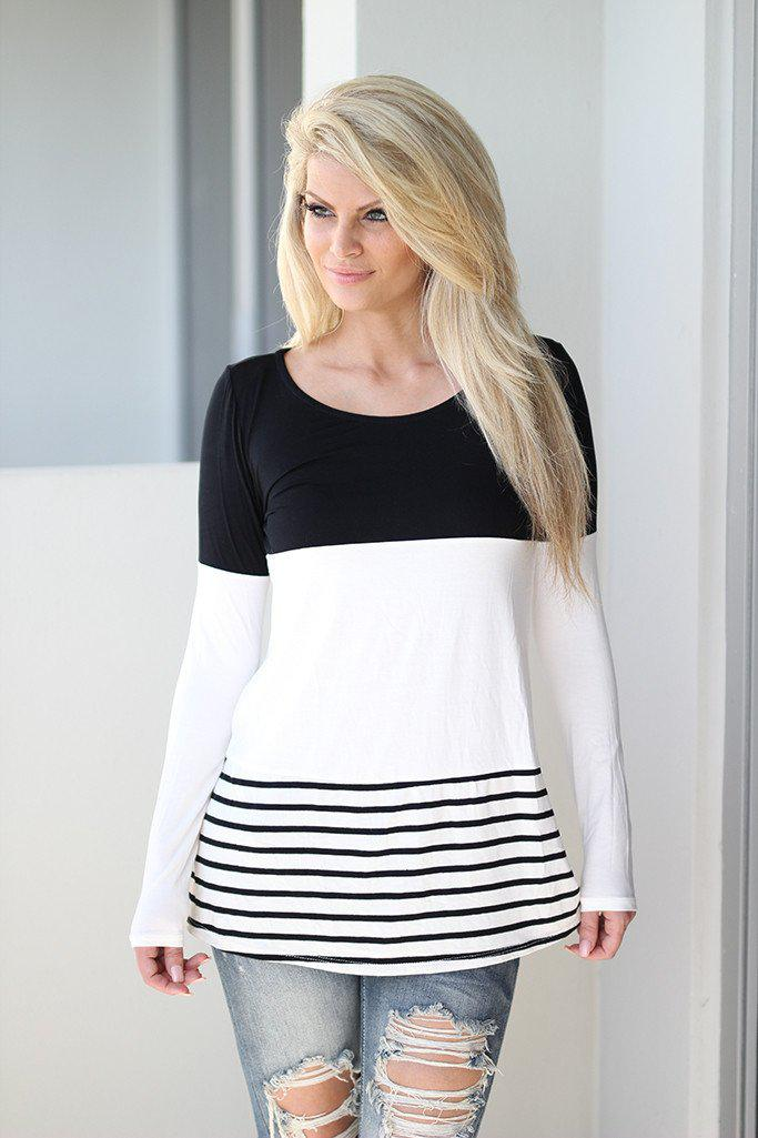 Black and White Color Block Top