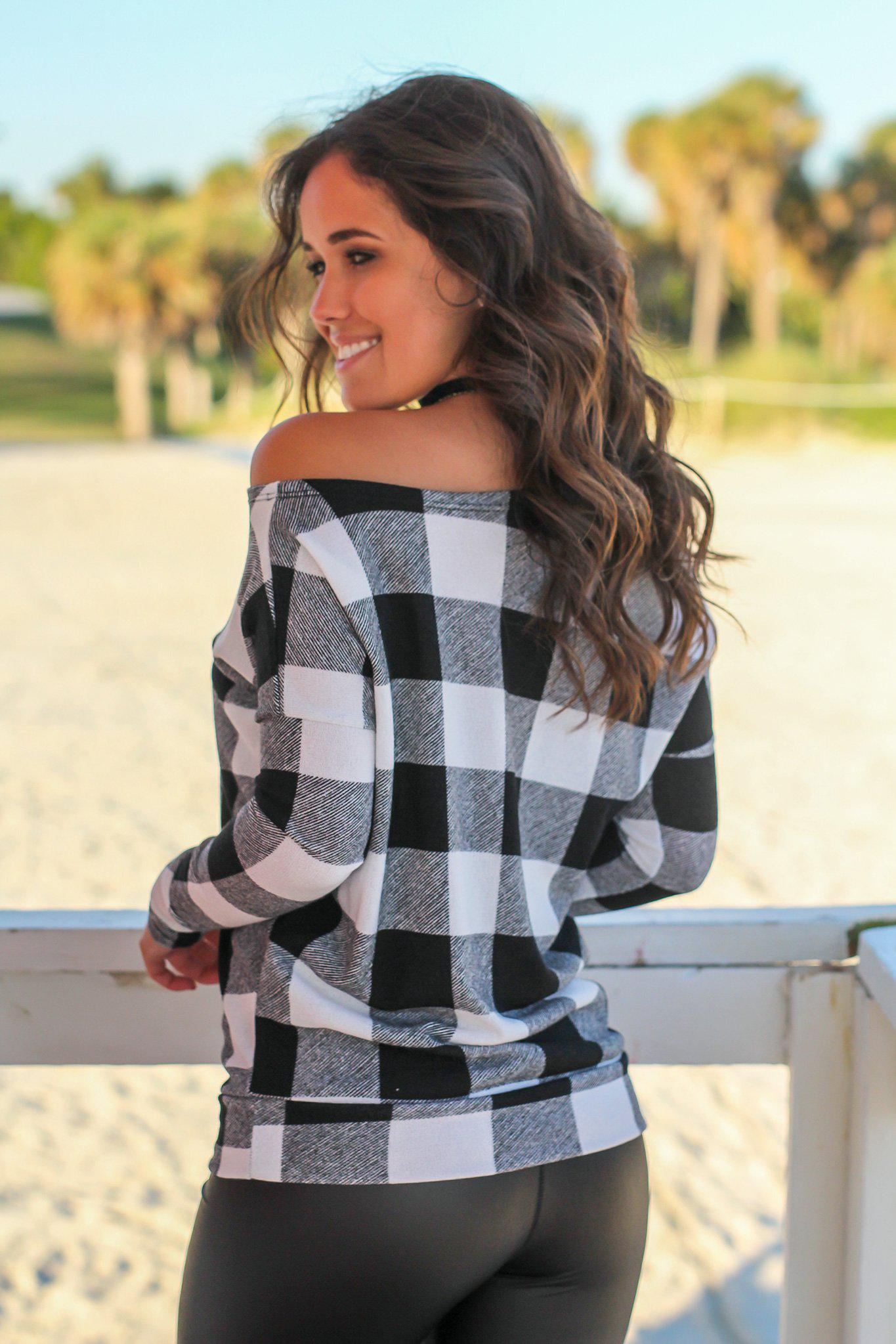 Black and White Plaid Asymmetrical Top