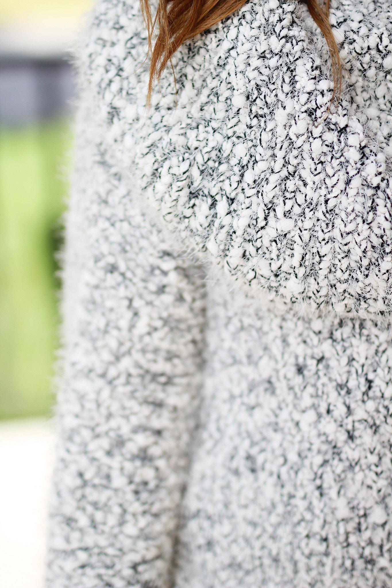 Black and White Plush Chunky Sweater