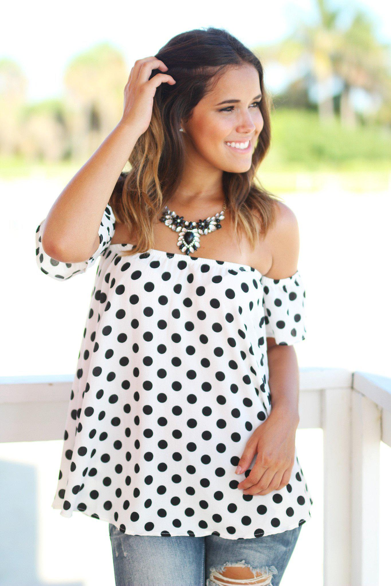 Ivory and Black Polka Dot Off Shoulder Top