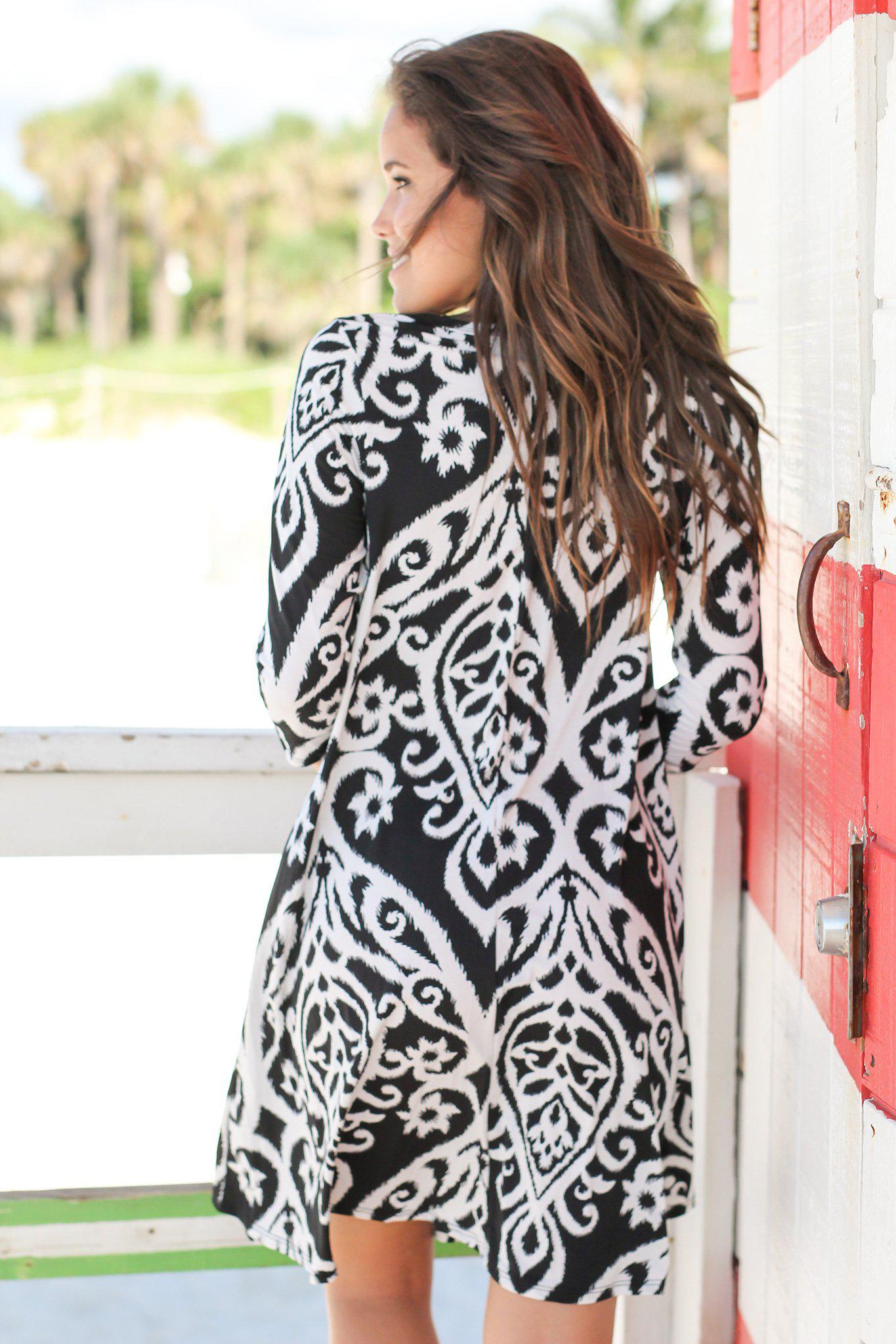 Black and White Printed 3/4 Sleeve Dress with Keyhole