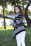 black and white asymmetrical cardigan