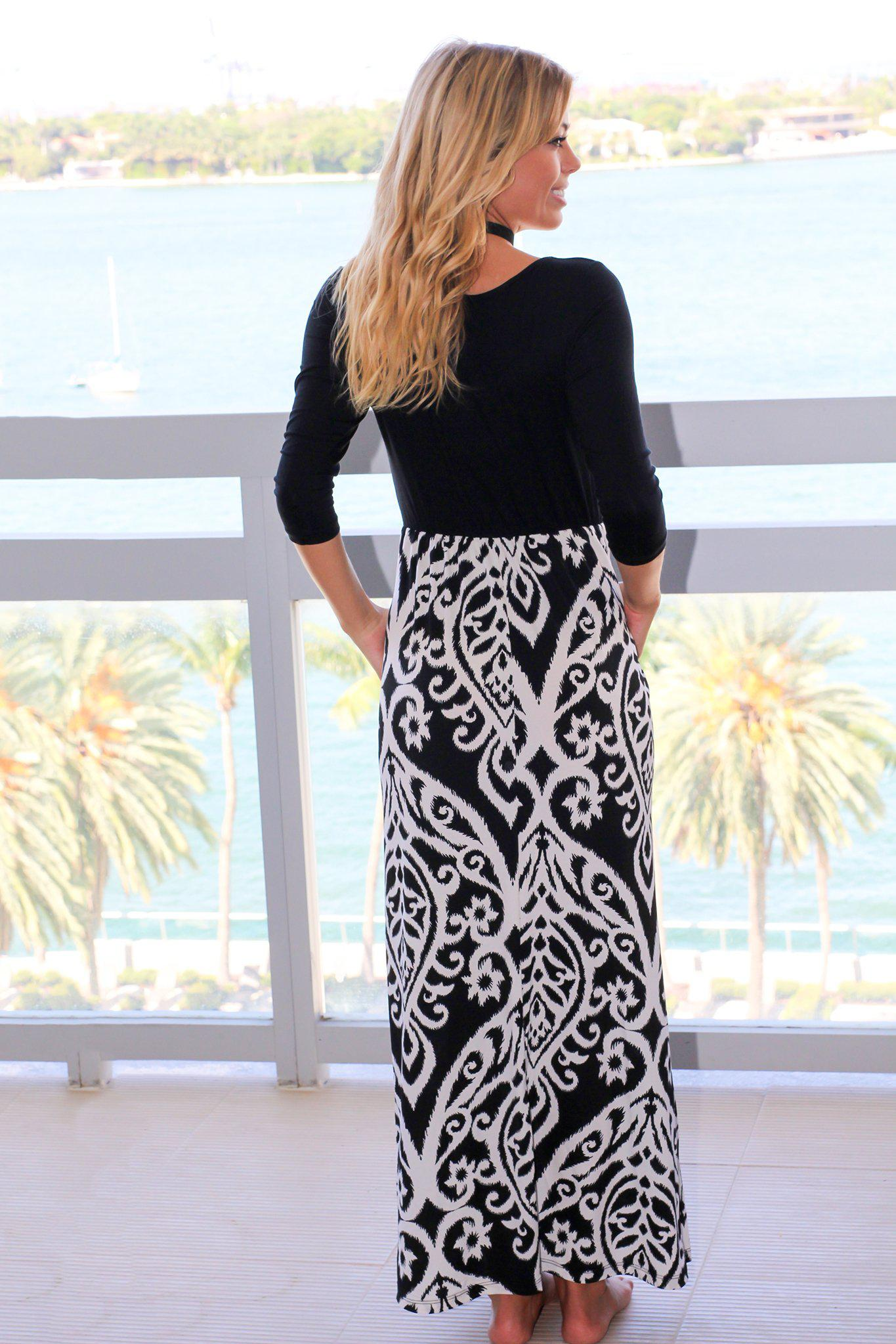 Black and White Printed Maxi Dress With 3/4 Sleeves and Pockets