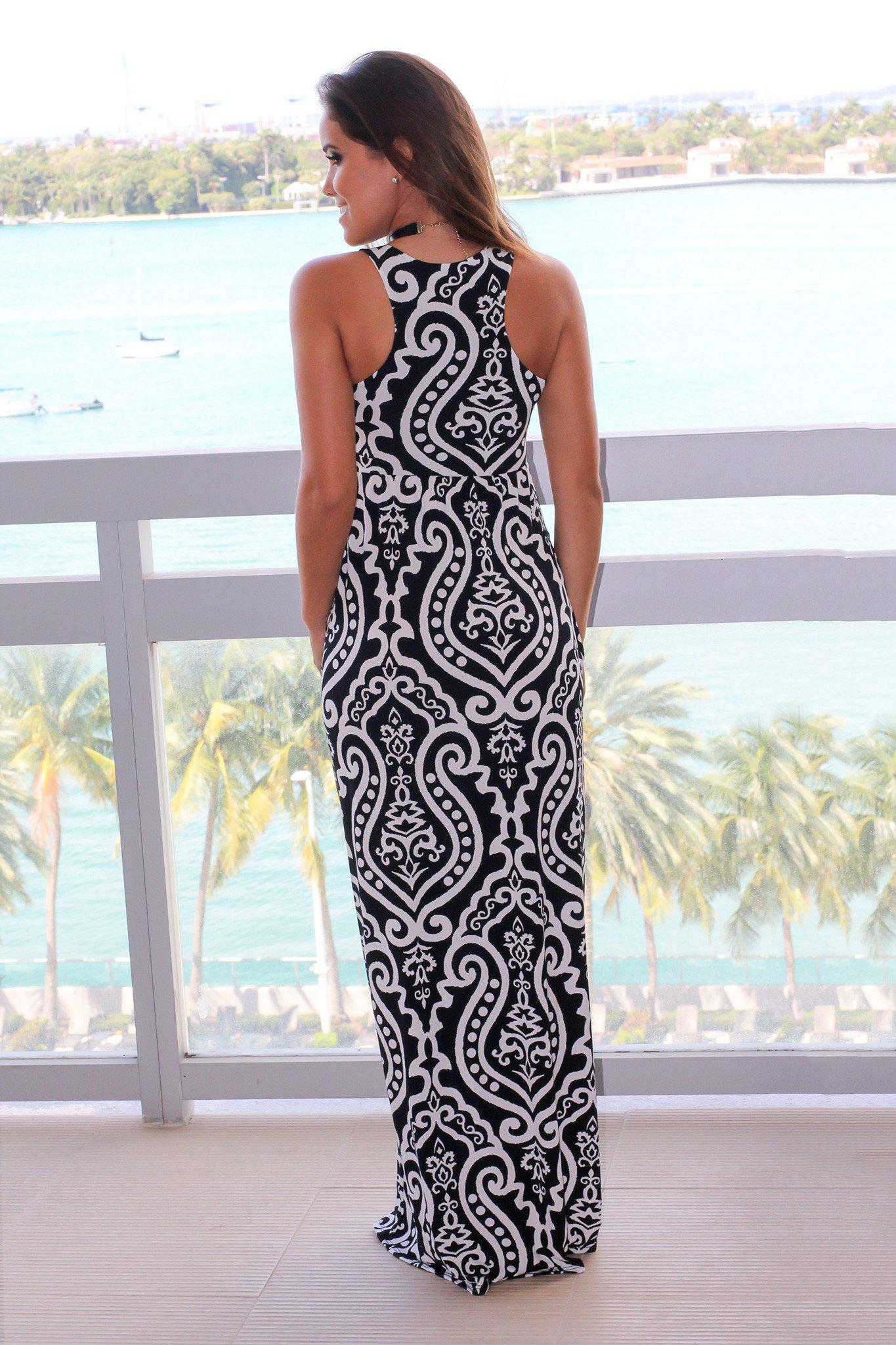 Black and White Printed Racerback Maxi Dress