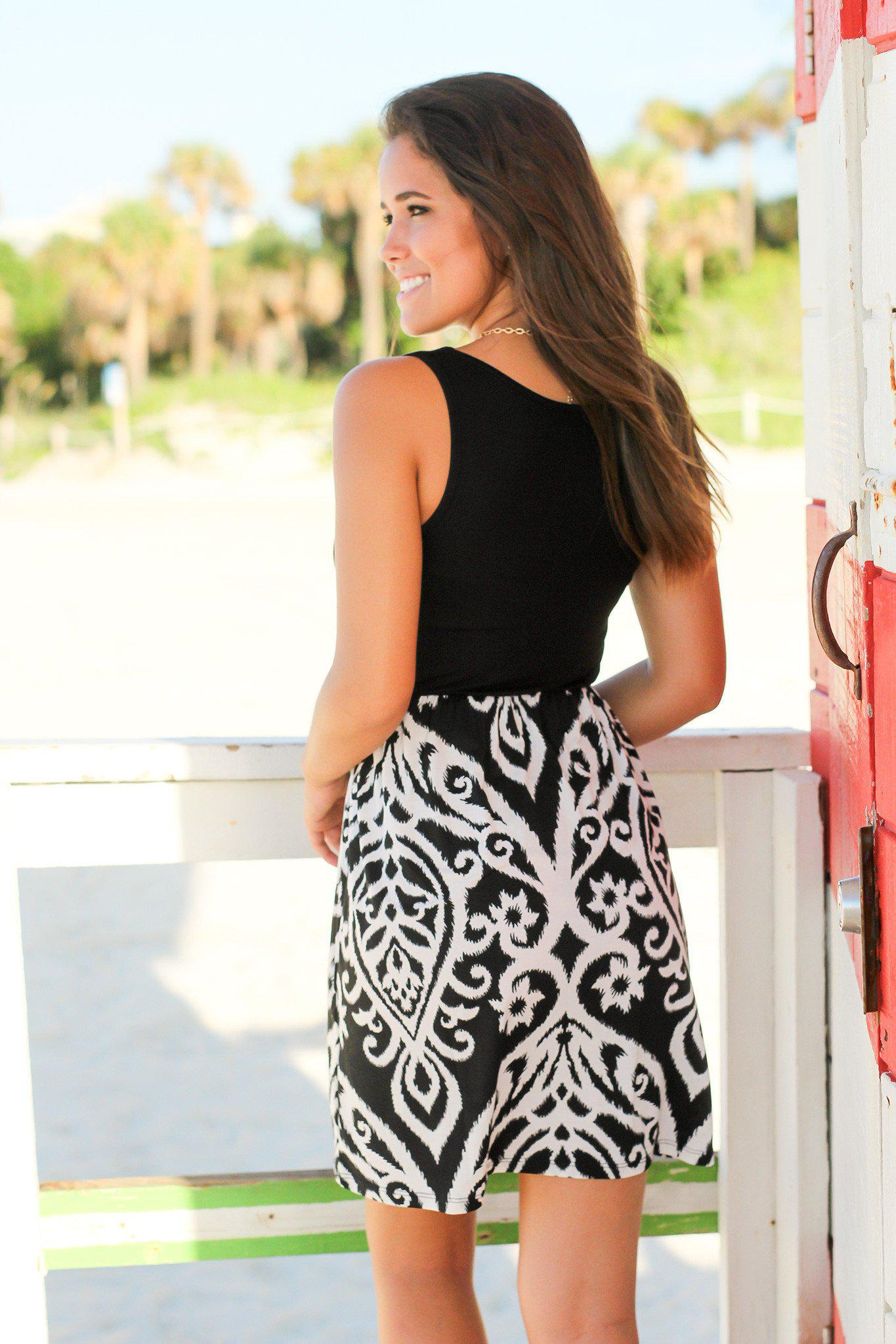 Black and White Printed Short Dress