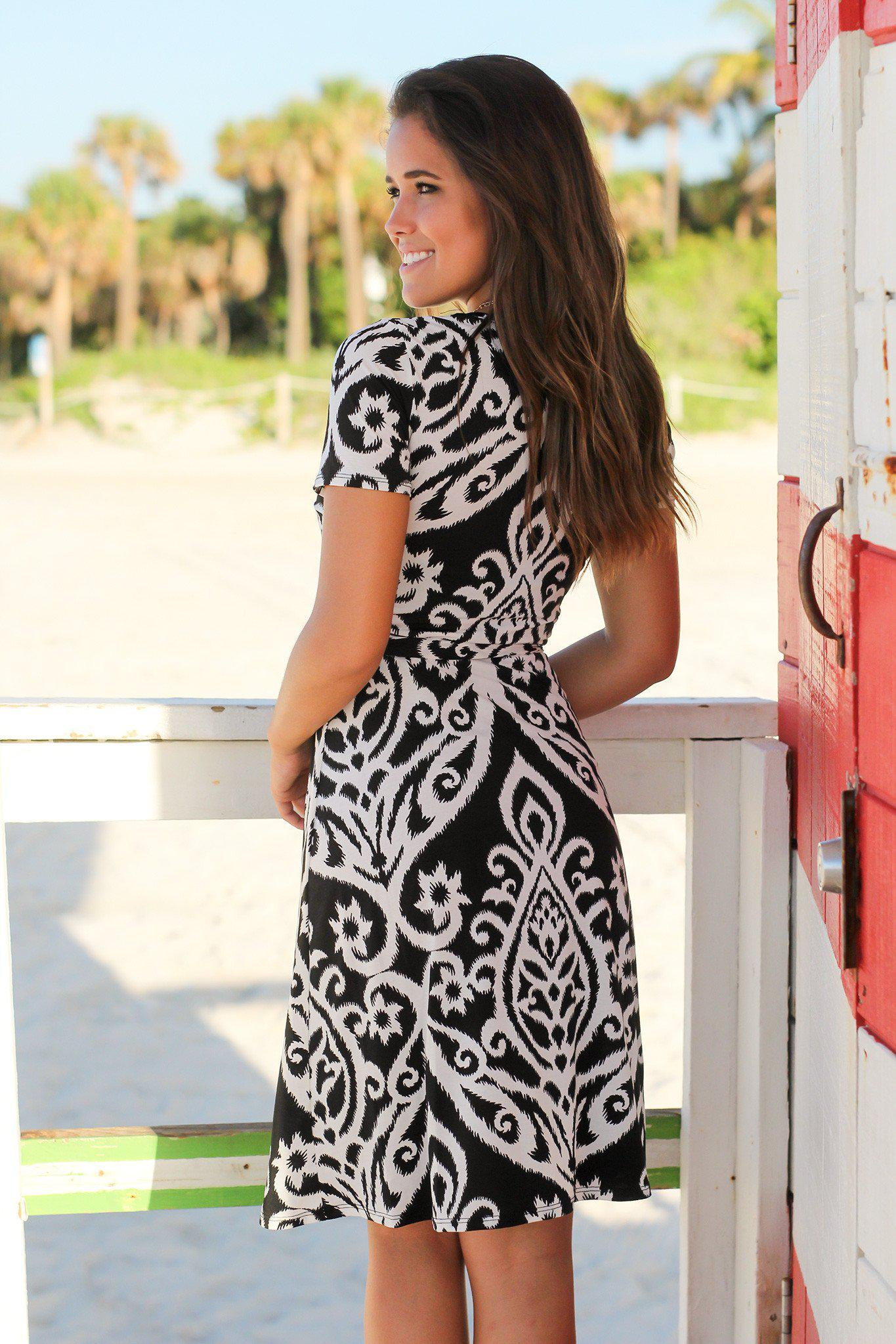 Black and White Printed Wrap Short Dress